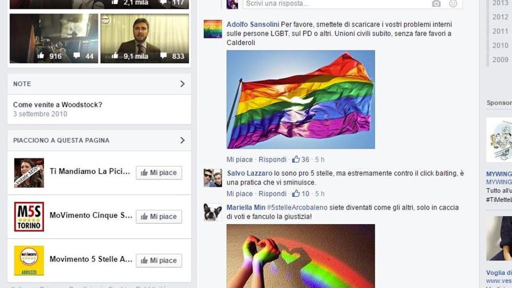 La pagina Facebook del M5S invasa dagli arcobaleni