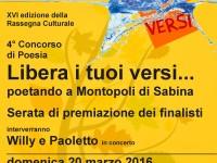 """IV concorso di poesia """"Libera i tuoi versi…poetando a Montopoli"""""""