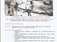 Giorno della Memoria a Castelnuovo di Farfa lunedì 28 gennaio 2019
