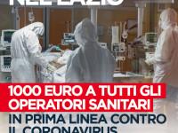 Coronavirus, D'Amato: nel Lazio 1000 euro per operatori sanitari