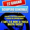 22 giugno 2012 SCIOPERO GENERALE. 18 buone ragioni per scioperare